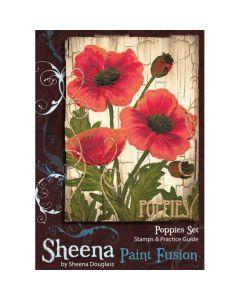 Sheena Douglass Paint Fusion A6 Rubber Stamp Set - Poppies