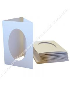 Craft UK A6 3 Fold Aperture Oval Smooth White Cards and Envelopes - pack of 10
