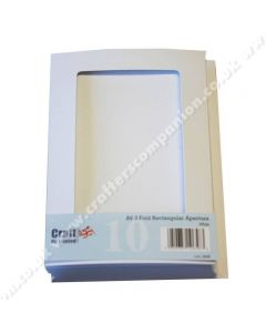 Craft UK A6 3 Fold Aperture Rectangle Smooth White Cards and Envelopes - pack of 10