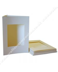 Craft UK A5 3 Fold Aperture Rectangle Ivory Smooth Cards and Envelopes - pack of 10