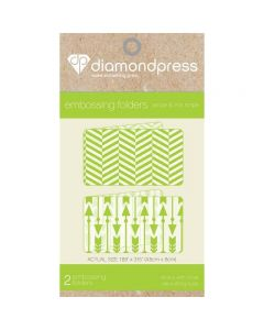Diamond Press Embossing Folder - Arrow and Mix Stripe
