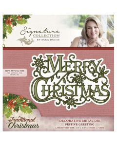 Sara Signature Traditional Christmas Collection Metal Die - Festive Greeting