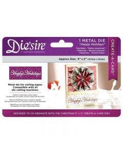Die'sire Christmas 5x2 'Create-a-Card' Metal Die - Happy Holidays Die thumb