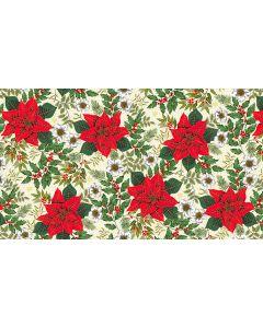 Makower Deck the Halls Fabric - Large Poinsettia Cream