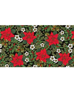 Makower Deck the Halls Fabric - Large Poinsettia Black