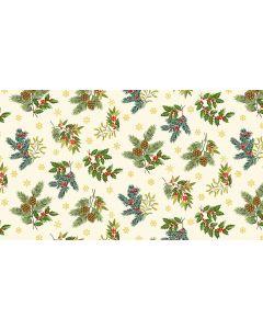 Makower Deck the Halls Fabric - Foliage Cream