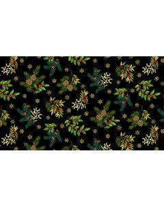 Makower Deck the Halls Fabric - Foliage Black