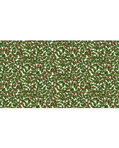 Makower Deck the Halls Fabric - Holly Cream