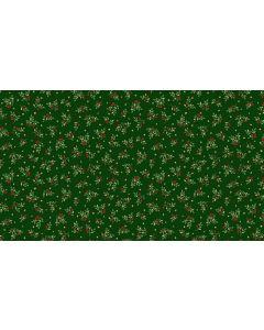 Makower Deck the Halls Fabric - Leaf Spray Green