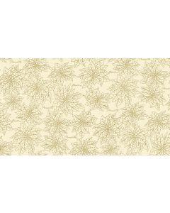 Makower Deck the Halls Fabric - Poinsettia Outline Cream