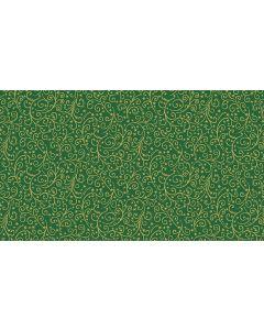 Makower Twelve Days Fabric - Metallic Scroll Green