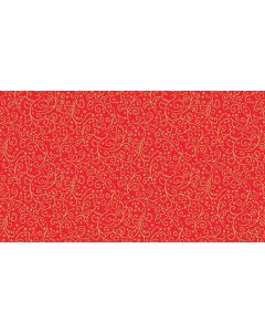 Makower Twelve Days Fabric - Metallic Scroll Red