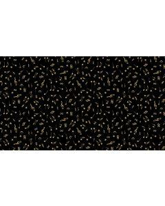 Makower Twelve Days Fabric - Metallic Notes Black