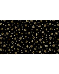 Makower Twelve Days Fabric - Snowflakes Black