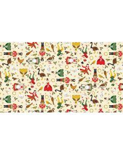 Makower Twelve Days Fabric - Icons Cream