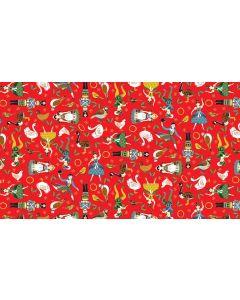 Makower Twelve Days Fabric - Icons Red