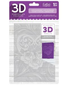 """Crafter's Companion 3D Embossing Folder 5""""x7"""" - Love Blossoms"""