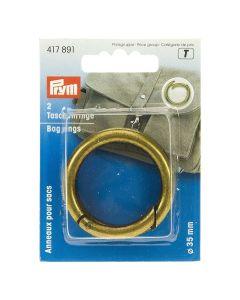 Prym Antique Brass 35mm Bag Rings