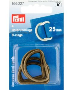 Prym Antique Brass 25mm D-Rings