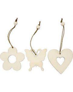 Creativ Wooden Ornament Flower, Butterfly, Heart - 9 Pack