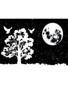 Imagination Crafts Art Stamps 135x91 - Moon and Tree