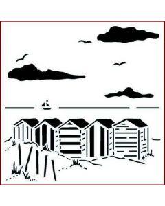Imagination Crafts Stencil 6x6 - Beach Huts
