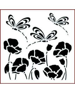 Imagination Crafts Stencil 6x6 - Dragonfly and Poppies