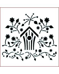 Imagination Crafts Stencil 6x6 - Folk Bird House