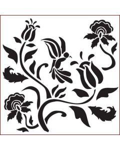 Imagination Crafts Stencil 6x6 - Folk Flowery Bird