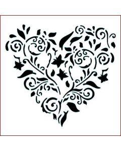 Imagination Crafts Stencil 6x6 - Heart Flower