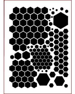 Imagination Crafts A4 Art Stencil - Mixed Hexagons