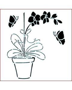 Imagination Crafts Stencil 6x6 - Orchid Pot