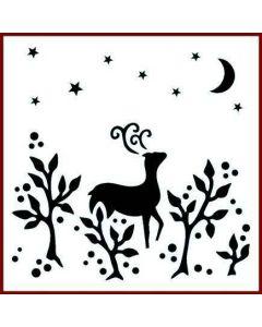 Imagination Crafts 6x6 Christmas Stencil - Reindeer in Fauna