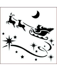 Imagination Crafts 6x6 Christmas Stencil - Santa and Sleigh