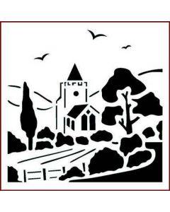 Imagination Crafts Stencil 6x6 - Village Church