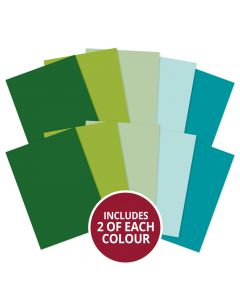 Hunkydory Adorable Scorable A4 Cardstock x 10 sheets - Greens