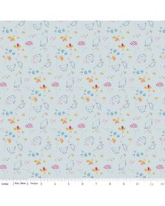 Riley Blake Someday Fabric - Chickens Teal