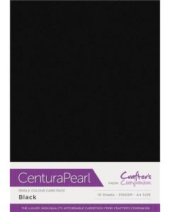 Crafter's Companion Centura Pearl Single Colour A4 10 Sheet Pack - Black