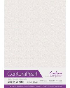 Crafter's Companion Centura Pearl Snow White Hint of Silver A4 Printable Card Pack - 10 Sheets