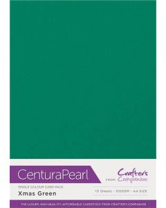 Crafter's Companion Centura Pearl Single Colour A4 10 Sheet Pack - Xmas Green