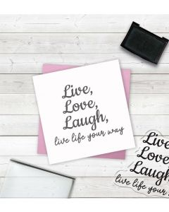 Crafter's Companion Clear Acrylic Stamp - Live, Love, Laugh