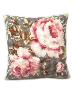 Groves Cross Stitch Cushion - Ancient Rose