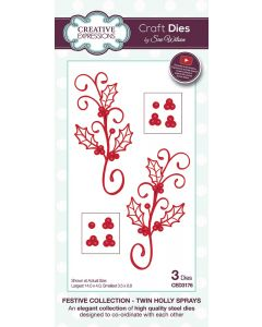 Creative Expressions Festive Collection Craft Die - Twin Holly Sprays