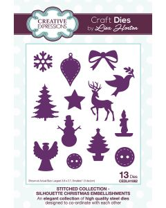 Creative Expressions Stitched Collection Silhouette Die Set - Christmas Embellishments