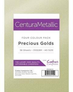 Crafter's Companion Centura Pearl Metallic Card Pack - Precious Golds (A5)