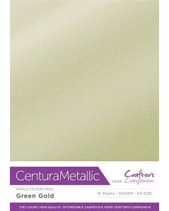Crafter's Companion Centura Pearl Metallic A4 Single Colour 10 Sheet Pack - Green Gold