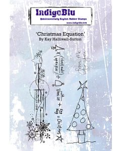 Indigoblu Christmas Equation A6 Red Rubber Stamp