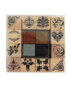 Craft Sensations Wooden Stamp Set and Ink Pads - Flourishes with brown, gold, silver, black ink pads