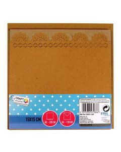 Craft Sensations 15x15cm Scalloped Edge Card and Envelope Packs Kraft Coloured - 8 pack