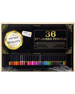 Craft Sensations 36 Coloured Pencils in Wooden Case